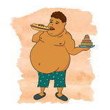 Fat man eating burger. Colorful doodle vector illustration Royalty Free Stock Photo