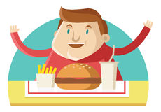 A fat man eating fast food Stock Images