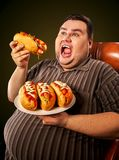 Fat man eating fast food hot dog. Breakfast for overweight person. Fat man eating fast food hot dog on plate. Breakfast for overweight person. Junk meal leads stock photo