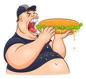 Fat man eating giant sandwich Stock Photography