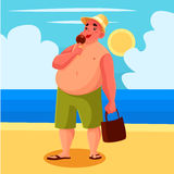 Fat man eating ice cream on the beach Stock Photos