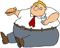 Fat man eating junk food. This illustration depicts a fat man sitting on the ground holding a hamburger and soft drink Stock Photos