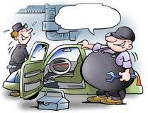 Fat man examining car Stock Photos