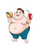 Fat man. With fast food isolated on white background Royalty Free Stock Photos