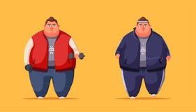 Fat man. Running and activity lifestyle concept. Cartoon vector illustration stock illustration