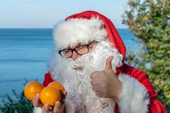 Fat man in glasses dressed as Santa holds tangerines on the ocean. Vacation and healthy lifestyle royalty free stock image