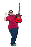 Fat man with guitar Royalty Free Stock Images