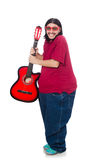 Fat man with guitar Royalty Free Stock Photo