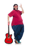 Fat man with guitar Stock Photo