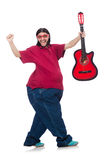 Fat man with guitar isolated on white Royalty Free Stock Photography