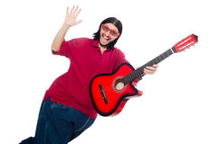 Fat man with guitar isolated on white Stock Photos