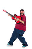 Fat man with guitar isolated on white Stock Images