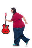 Fat man with guitar isolated on white Stock Photography