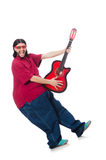 Fat man with guitar on white Royalty Free Stock Images