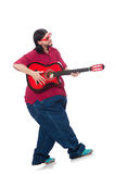 Fat man with guitar on white Royalty Free Stock Photo