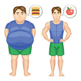 The fat man with hamburger and slim man with apple. Stock Photography