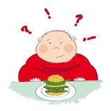 Fat man with hamburger, trying to decide whether to eat it or not. Fat man with hamburger sitting in fastfood and trying to decide whether to eat it or not Royalty Free Stock Photo