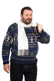 A fat man has a taste dark beer. A fat bearded man has a taste dark beer on a white background Stock Photos