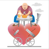 Fat_man_and_his_heart. Fat man eating and siting on his torn heart. Vector illustration Royalty Free Stock Photography
