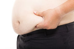 Fat Man  holding his  tummy Royalty Free Stock Image