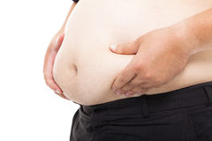 Fat Man  holding his  tummy Royalty Free Stock Photo