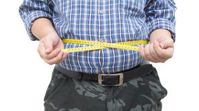 Fat man holding a measurement tape isolated Stock Photo