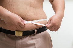 Fat man holding a measuring Stock Photography