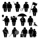 Fat Man Holding Using Various Objects Cliparts. A set of human pictogram representing a fat man with different type of things such as a friend, cigarette, tennis Stock Photo