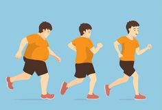 Fat man jogging to slim shape in 3 step. Stock Images