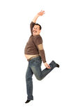 Fat man Jumping Royalty Free Stock Images