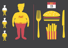 Fat man with junk food,loss weight Royalty Free Stock Photo