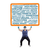 Fat man lifting a billboard. With a full text. isolated on white background stock photos
