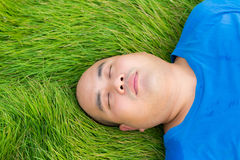 Fat Man Lying on the Green Grass to Relax Stock Photo