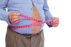 Fat man measuring his big stomack. Royalty Free Stock Photo