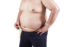 Fat man measuring his stomach Stock Photography
