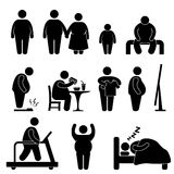 Fat Man Obesity Overweight Pictogram. A set of pictogram representing fat man and family Stock Images