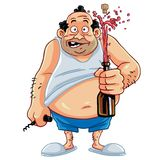 Fat Man Opening Champagne Bottle. Cartoon Character : Fat Man Opening Champagne Bottle Stock Photos
