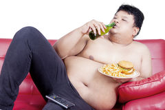 Fat man with overweigh Stock Photography