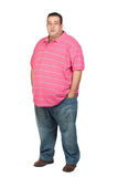 Fat man with pink shirt stock photo