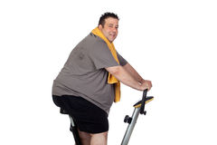 Fat man playing sport royalty free stock photos