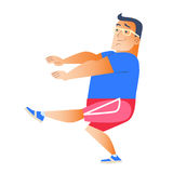 Fat man plays sports. Gymnastics health weight loss Stock Images