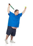 Fat man with a racket playing tennis Stock Images