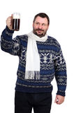 Fat man raises a stout mug. Fat bearded man raises a stout mug on a white background Royalty Free Stock Images