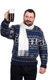 Fat man raises a stout mug Royalty Free Stock Images