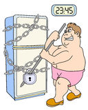 The fat man and refrigerator. The fat man trying to unlock refrigerator. Night meal. Vector illustration Royalty Free Stock Image