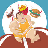 Fat man running away from fast food Royalty Free Stock Images