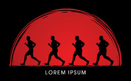 Fat man running step graphic Stock Photography