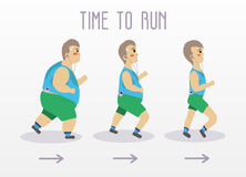Fat man running to slim shape. Sport and fitness vector concept illustration Royalty Free Stock Photo