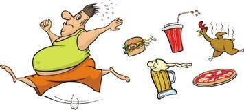 Fat man runs away from unhealthy food Royalty Free Stock Image
