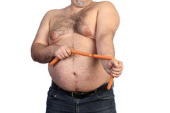 Fat man and sausages Royalty Free Stock Photos